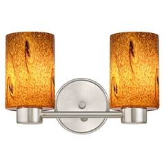 Aon Fuse Art Glass Satin Nickel Bathroom Light with Cylinder Glass