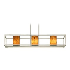 Satin Nickel Linear Chandelier with Cylindrical Shade