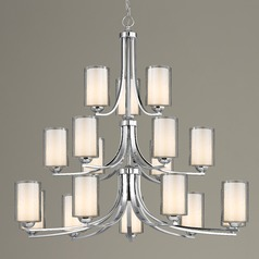 Seeded Glass Chandelier Chrome 18-Lt Three Tier
