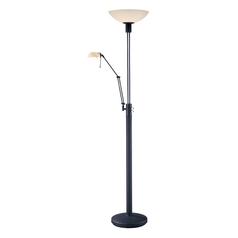 Modern Torchiere Lamp with Silver Glass Shade in  Bronze Finish