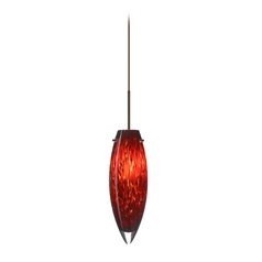 Besa Lighting Modern Low Voltage Mini-Pendant Light with Red Glass 1XP-409641-BR