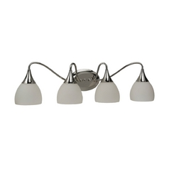 Sea Gull Lighting Modern Bathroom Light with White Glass in Polished Nickel Finish 44974-841