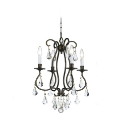 Crystal Mini-Chandelier in English Bronze Finish