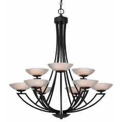 Dolan Designs Lighting Bronze Chandelier with Nine Lights and Seeded Glass Shades 1902-46