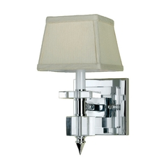 Modern Sconce Wall Light with Beige / Cream Shade in Chrome Finish