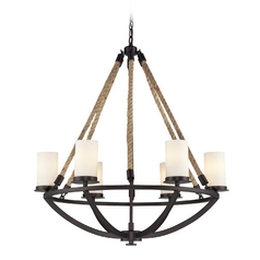 Chandelier with White Glass in Aged Bronze Finish