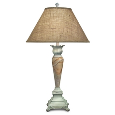 Stiffel Table Lamp with Brown Shade in Distressed White Finish