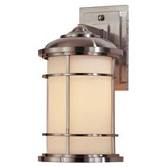 Outdoor Wall Light with White Glass in Brushed Steel Finish