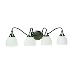 Sea Gull Lighting Modern Bathroom Light with White Glass in Polished Nickel Finish 44974BLE-841