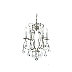 Crystal Mini-Chandelier in Old Silver Finish