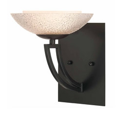 Bronze Sconce with Seeded Glass Shade