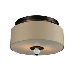 Semi-Flushmount Light with Beige / Cream Shade in Aged Bronze Finish