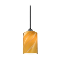 Black Mini-Pendant Light with Butterscotch Cylinder Art Glass