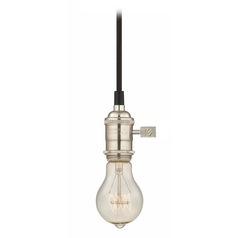 Industrial Edison Bulb Mini-Pendant Light Satin Nickel Cloth Cord