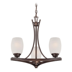Etched White Seeded Glass Mini-Chandelier Bronze Minka Lavery