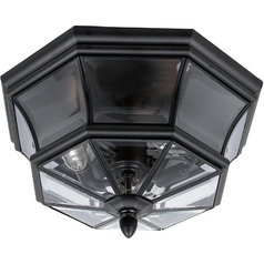 Modern Close To Ceiling Light with Clear Glass in Mystic Black Finish