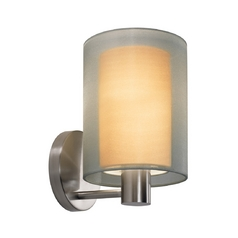 Modern Sconce Wall Light with Silver Shade in Satin Nickel Finish
