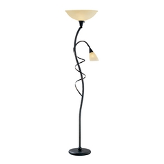 Modern Torchiere Lamp with Amber Glass in Bronze Finish