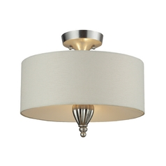 Semi-Flushmount Light with White Shade in Silver Leaf Finish