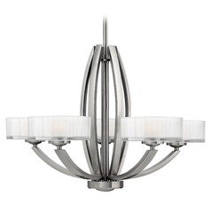 Hinkley 5-Light Chandelier with White Glass in Brushed Nickel