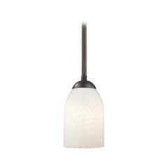 Design Classics Lighting Modern Mini-Pendant Light with White Art Glass Shade in Bronze Finish 581-220 GL1020D