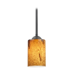 Modern Mini-Pendant Light with Brown Art Glass
