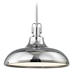 Nautical Pendant Light Chrome with Metal Shade 15.63-Inch Wide