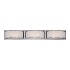 Modern LED Bathroom Light with White Glass in Brushed Nickel Finish