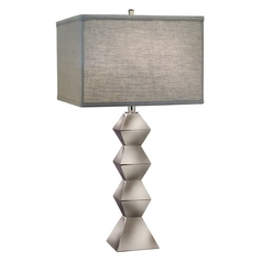 Stiffel Modern Table Lamp with Grey Shade in Polished Nickel Finish