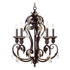 Livex Lighting Iron & Crystal Hand Rubbed Bronze with Antique Silver Accents Chandelier