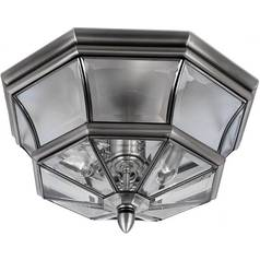 Modern Close To Ceiling Light with Clear Glass in Pewter Finish