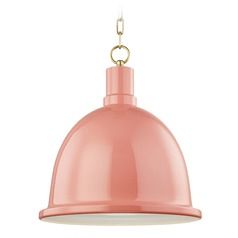Mitzi Blair Aged Brass / Pink Pendant Light with Bowl / Dome Shade