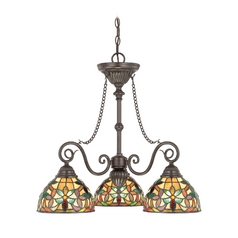 Quoizel Lighting Chandelier with Art Glass in Vintage Bronze Finish TFKM5103VB