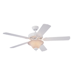 Ceiling Fan with Light with White Glass in White / White Faux Alabaster Finish