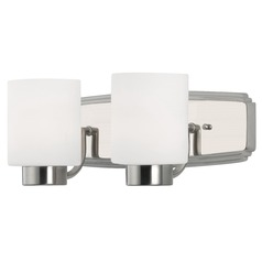Contemporary Bathroom Light in Satin Nickel Finish with Two Lights
