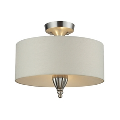 Semi-Flushmount Light with White Shades in Silver Leaf Finish