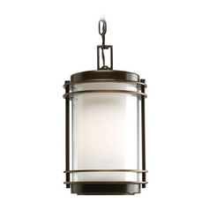 Progress Oil Rubbed Bronze Outdoor Hanging Light with White Glass