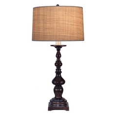Stiffel Table Lamp with Brown Shade in Japanese Bronze Finish