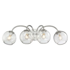 Mid-Century Modern Bathroom Light 4Lt Chrome with Clear Globe by George Kovacs