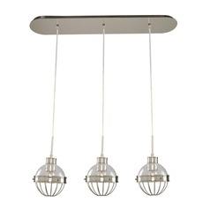 Kalco Montauk Polished Nickel Multi-Light Pendant with Bowl / Dome Shade