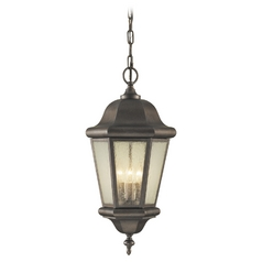 Outdoor Hanging Light with Clear Glass in Corinthian Bronze Finish