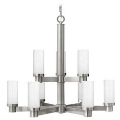 Hinkley 9-Light Chandelier with White Glass in Brushed Nickel