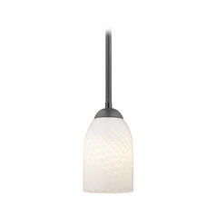 Design Classics Lighting Black Mini-Pendant Light with White Art Glass Shade 581-07 GL1020D