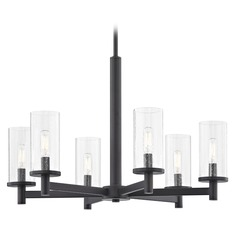 6-Light Modern Chandelier Seeded Glass Black
