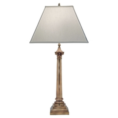 Stiffel Table Lamp with White Shade in Aged Brass Finish