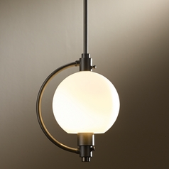 Hubbardton Forge Lighting Pluto Dark Smoke Mini-Pendant Light with Globe Shade