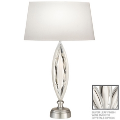 Fine Art Lamps Marquise Platinized Silver Leaf Table Lamp with Oval Shade