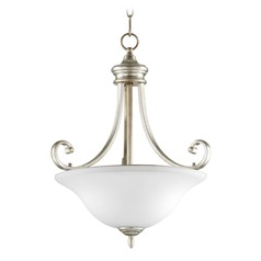 Quorum Lighting Bryant Aged Silver Leaf Pendant Light with Bowl / Dome Shade