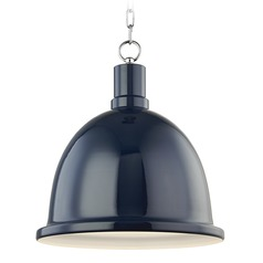 Mitzi Blair Polished Nickel / Navy Pendant Light with Bowl / Dome Shade