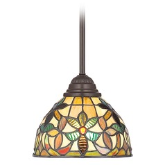 Mini-Pendant Light with Tiffany Glass